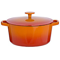 Cook's Collection Cast Iron Casserole Dish 3L Orange