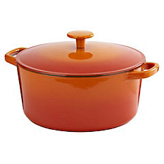 Cook's Collection Cast Iron Casserole Dish 5L Orange