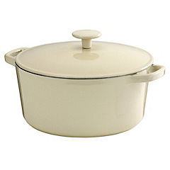Cook's Collection Cast Iron Casserole Dish 5L Cream