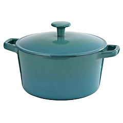 Cook's Collection Cast Iron Casserole Dish 3L Teal Blue
