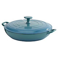 Cook's Collection Cast Iron Shallow Casserole 3L Teal Blue