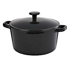 Cook's Collection Cast Iron Casserole Dish 3L Black
