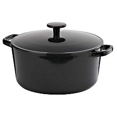 Cook's Collection Cast Iron Casserole Dish 5L Black
