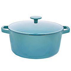 Cook's Collection Cast Iron Casserole Dish 5L Teal Blue