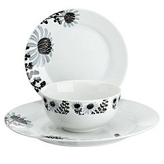 Tu Black Chrysanthemum Porcelain 12-piece Dinnerware Set