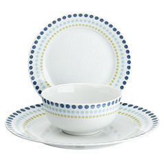 Tu Blue Gradient Spot Porcelain 12-piece Dinnerware Set
