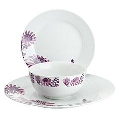 Tu Pink Chrysanthemum Porcelain 12-piece Dinnerware Set