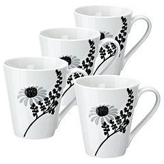 Tu Black Chrysanthemum Porcelain Mugs 4-pack