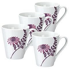 Tu Pink Chrysanthemum Porcelain Mugs 4-pack