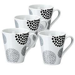 Tu Black Pebble Porcelain Mugs 4-pack