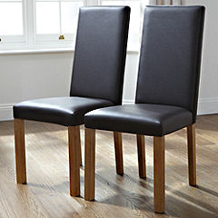 Java Set of 2 Faux Leather Dining Chairs