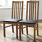 Mix and Match Oak Extended Back Pair of Dining Chairs