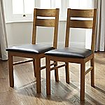 Mix and Match Oak Slatted Back Pair of Dining Chairs
