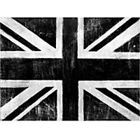 Union Jack Silver Metallic Canvas 57x77cm