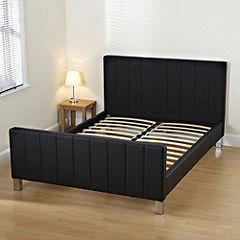 Danielle Double Black Faux Leather Bedstead