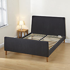 Jenna Double Faux Suede Grey Bedstead