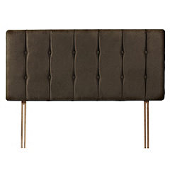 Orkney Chocolate Faux Suede Buttoned Kingsize Headboard