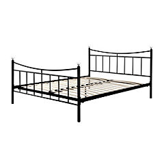 Kingsize Black Metal Crystal Bedstead