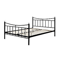 Double Black Metal Crystal Bedstead