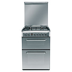 Indesit KDP60SE 60cm Stainless Steel Dual Fuel Cooker