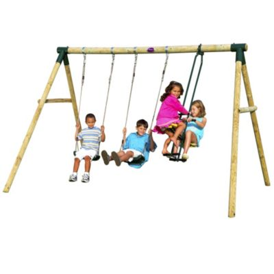 Plum Colobus Wooden Swing Set - image 1