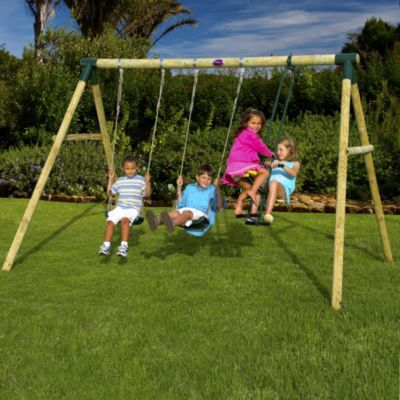 Plum Colobus Wooden Swing Set - image 2