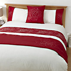 Tu Red Floral Embroidered Panel Bed in a Bag - includes Duvet Cover, Pillowcase, Runner and Cushion Cover