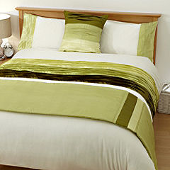 Tu Green Wavy Peat Panel Bed in a Bag - includes Duvet Cover, Pillowcase, Runner and Cushion Cover
