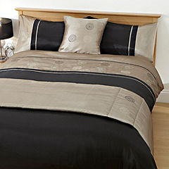 Tu Black and Mink Sequin Circles Bed in a Bag - includes Duvet Cover Pillowcase Runner and Cushion Cover
