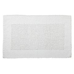 Home Collection White Chenille Bobble Bath Mat