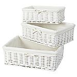 Sainsbury's Set of 3 White Willow Baskets