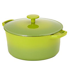 Cook's Collection Green 5L Cast Iron Casserole Dish