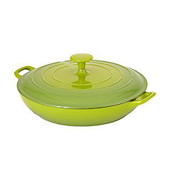Cook's Collection Green 3L Cast Iron Shallow Casserole Dish