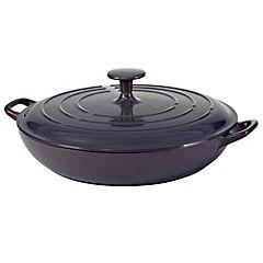 Cook's Collection Purple 3L Cast Iron Shallow Casserole Dish