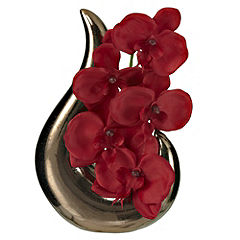 Tu Sculpture with Red Orchids