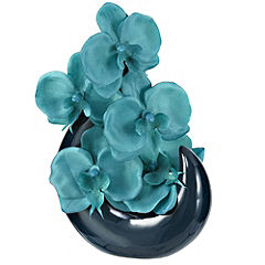 Tu Sculpture with Teal Orchids