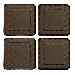 Tu Chocolate Faux Leather Coasters 4-pack
