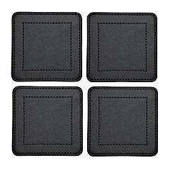 Tu Black Faux Leather Coasters 4-pack