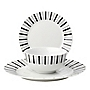 Tu Black Gradient Stripe 12-piece Dinner Set
