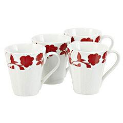 Tu Red Floral Mugs 4-pack