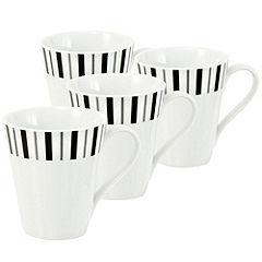 Tu Black and Grey Stripe Mugs 4-pack