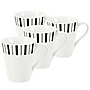 Tu Black and Grey Stripe Mugs 4-pack