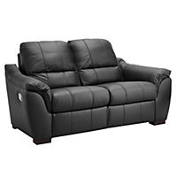Porto Large Black Leather Recliner Sofa