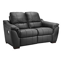 Porto Regular Black Leather Recliner Sofa