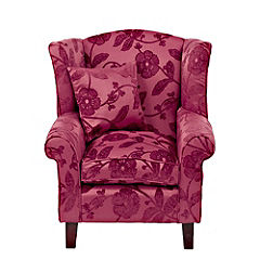 Stanford Claret Floral Wing Chair
