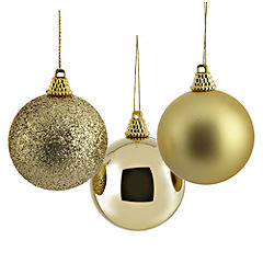 Sainsbury's Gold 60mm Baubles 24-pack