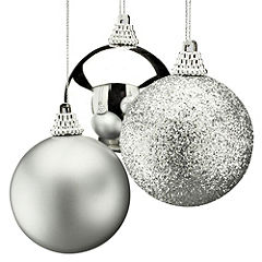 Sainsbury's Silver 40mm Baubles 24-pack