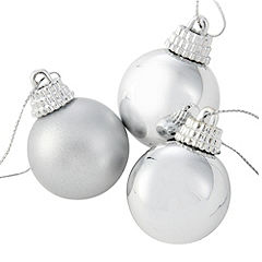 Sainsbury's Silver 30mm Baubles 20-pack