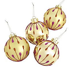 Sainsbury's Gold & Pink 80mm Baubles 4-pack
