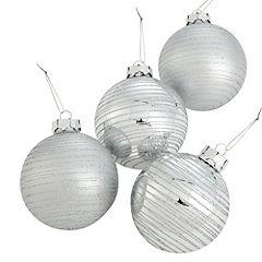 Sainsbury's Silver Glitter Stripe 80mm Baubles 4-pack